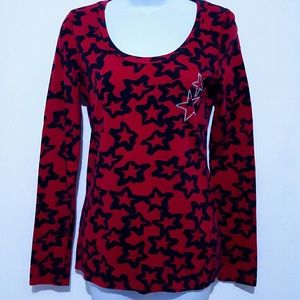 Womens L Rue21 Star printed long sleeve top